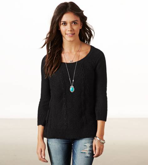 True Black AE Chiffon Back Crew Sweater
