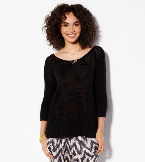 Black AE Open Knit Sweater