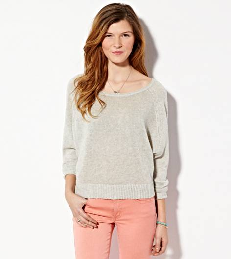Light Grey AE Cropped Raglan Sweater