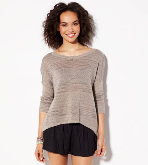 Heather Brown AE Hi-Lo Crew Sweater
