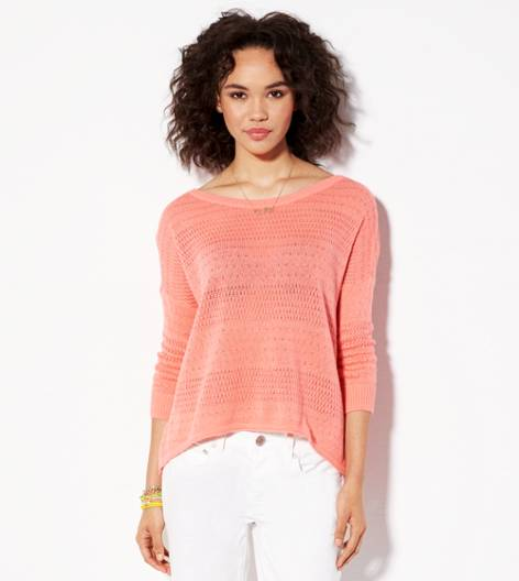Sunkissed Coral AE Hi-Lo Crew Sweater