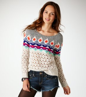 AE Fair Isle Open Stitch Sweater