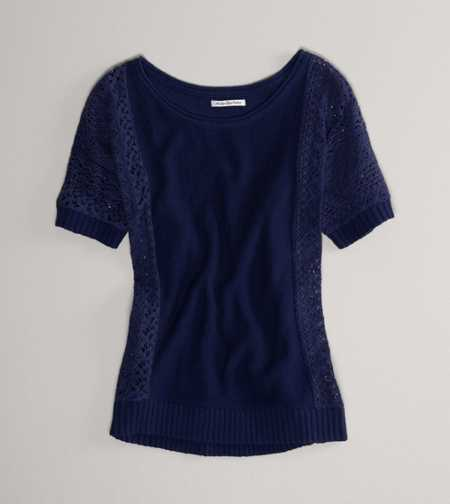 AE Paneled Lace Dolman Sweater