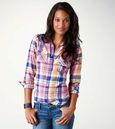 AE Plaid Flannel Western Shirt