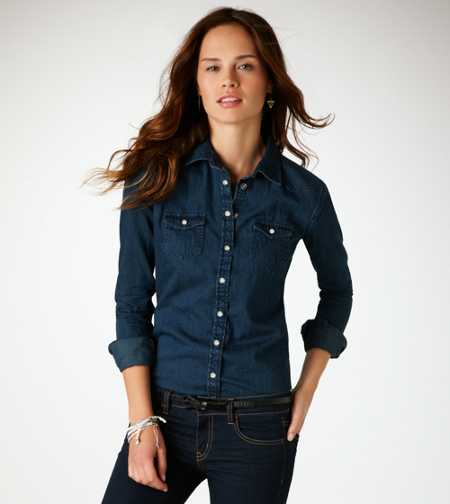 AE Dark Denim Western Shirt
