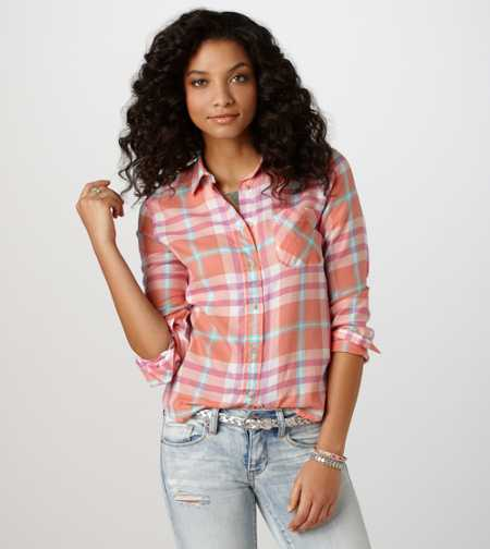 AE Plaid Girlfriend Shirt