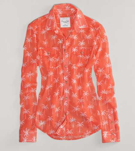 AE Palm Tree Sheer Shirt
