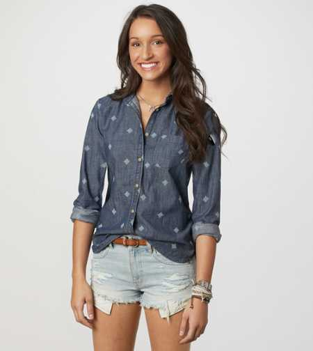 AE Embroidered Denim Shirt - Take 40% Off