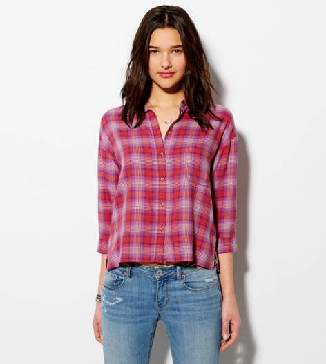 Red AE Cropped Button Down Shirt