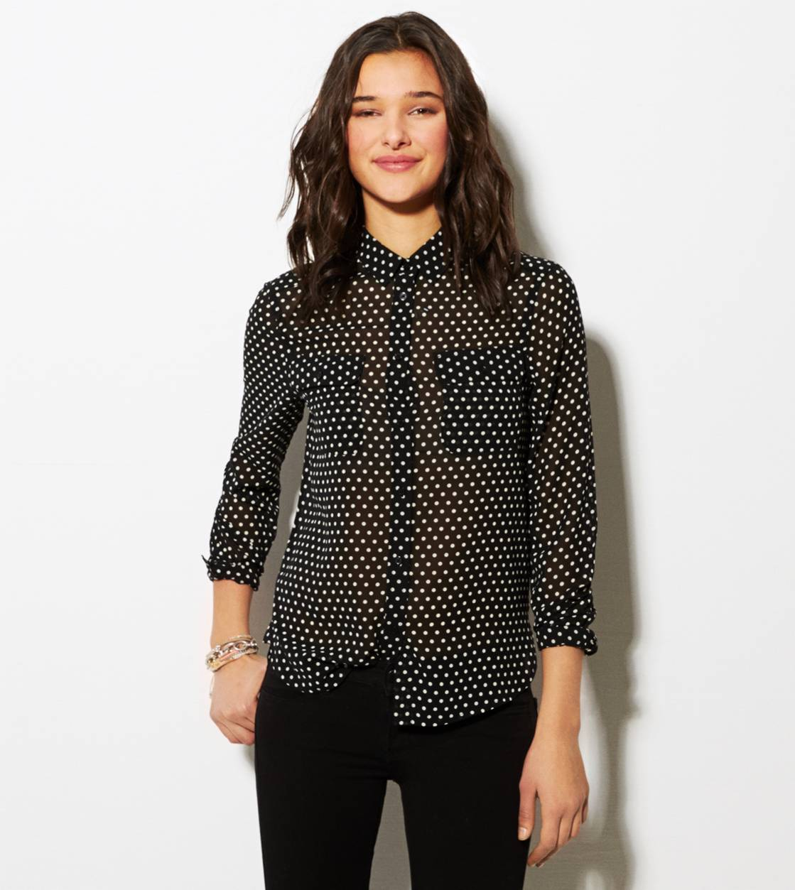 Black AE Printed Chiffon Button Down Shirt