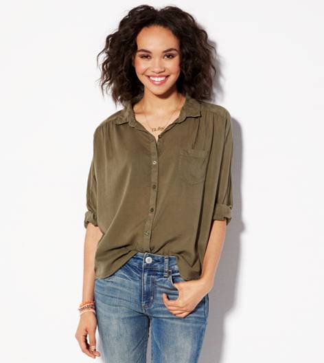 Olive AE Relaxed Dolman Girlfriend Shirt