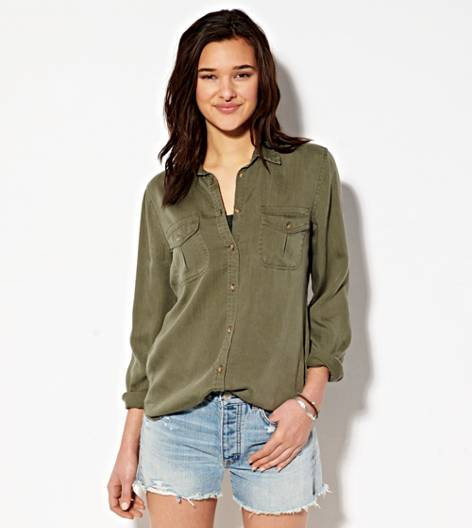 Olive AEO Safari Button Down Shirt