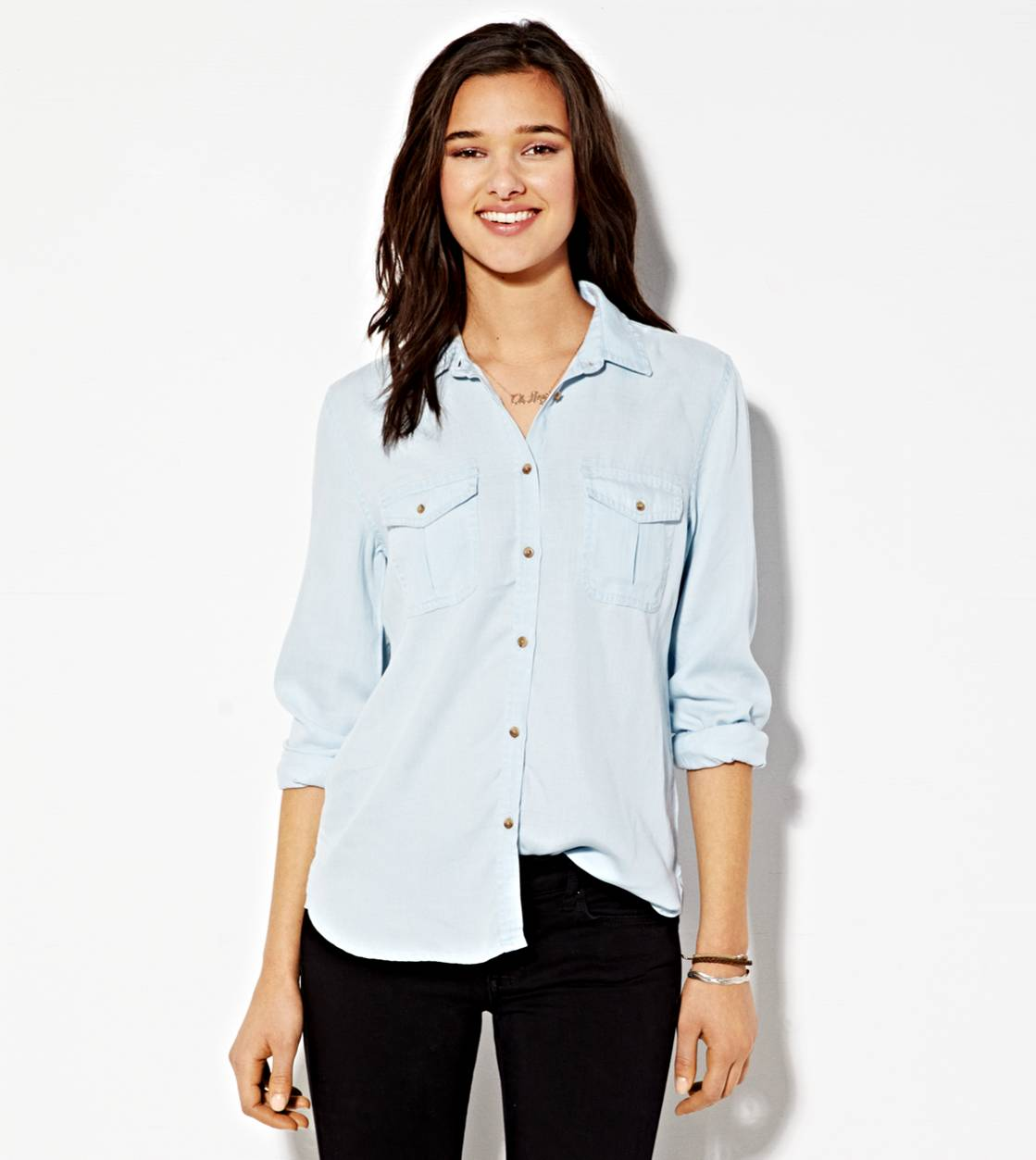 Light Wash AEO Safari Button Down Shirt