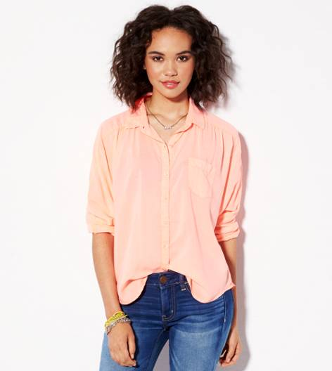 Coral AE Relaxed Dolman Girlfriend Shirt
