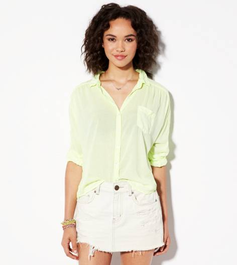 Neon Lemon Lime AE Relaxed Dolman Girlfriend Shirt