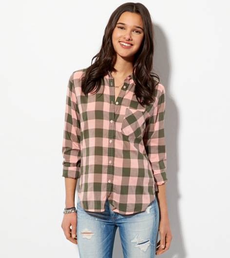Olive AE Plaid Girlfriend Shirt