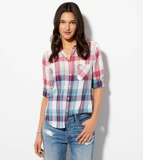 Turquoise AE Plaid Girlfriend Shirt