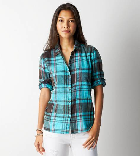 Green AE Acid Washed Plaid Shirt
