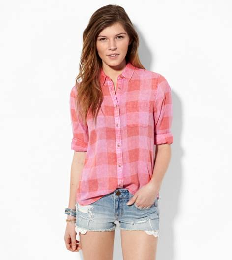 Pink AE Acid Washed Plaid Shirt