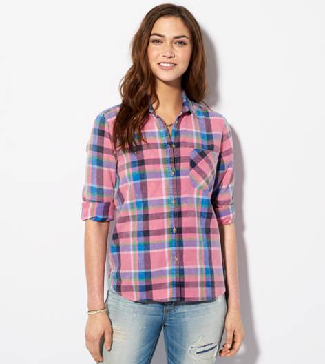 Pink AE Bright Plaid Girlfriend Shirt