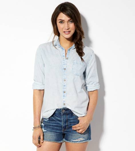 Light Wash AE Faded Chambray Shirt