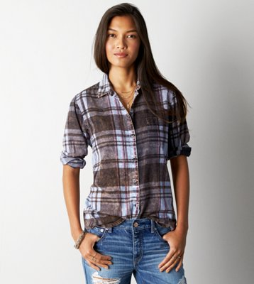 Sale alerts for American Eagle AE Acid Washed Girlfriend Shirt - Covvet