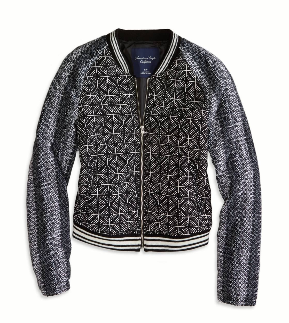 Black AE Quilted Varsity Jacket