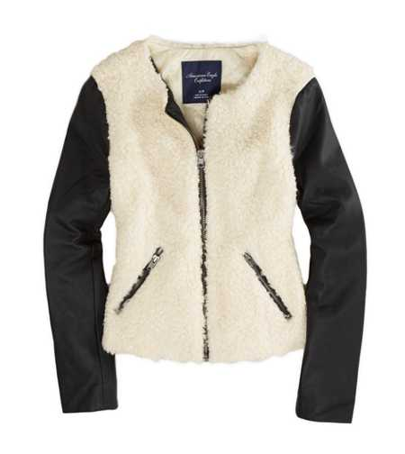 AE Collarless Faux Shearling Bomber