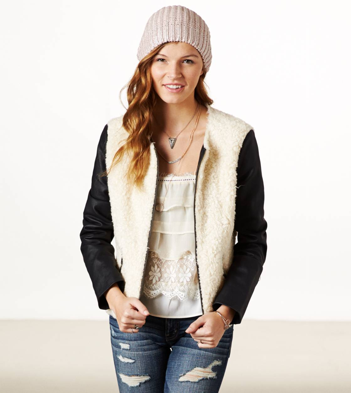 Cream AE Collarless Faux Shearling Bomber