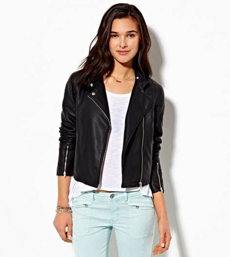 Black AE Cropped Vegan Leather Moto Jacket