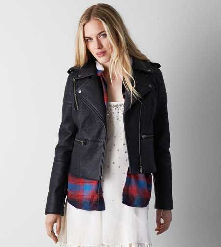 AEO Quilted Vegan Leather Moto Jacket