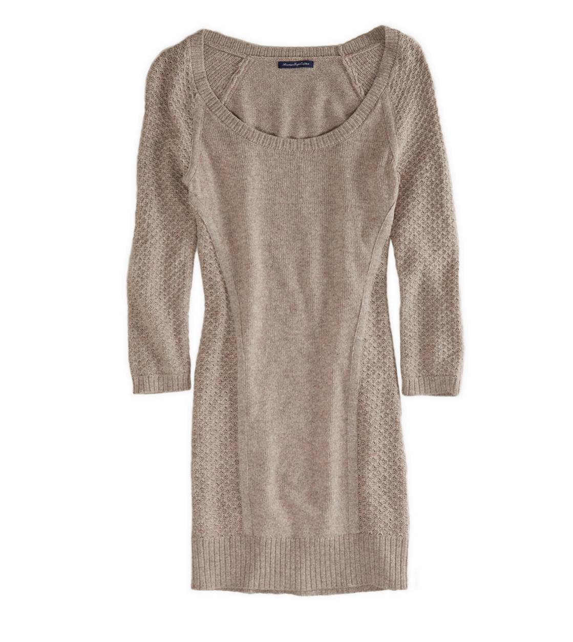 Oatmeal Heather AE Open Stitch Sweater Dress