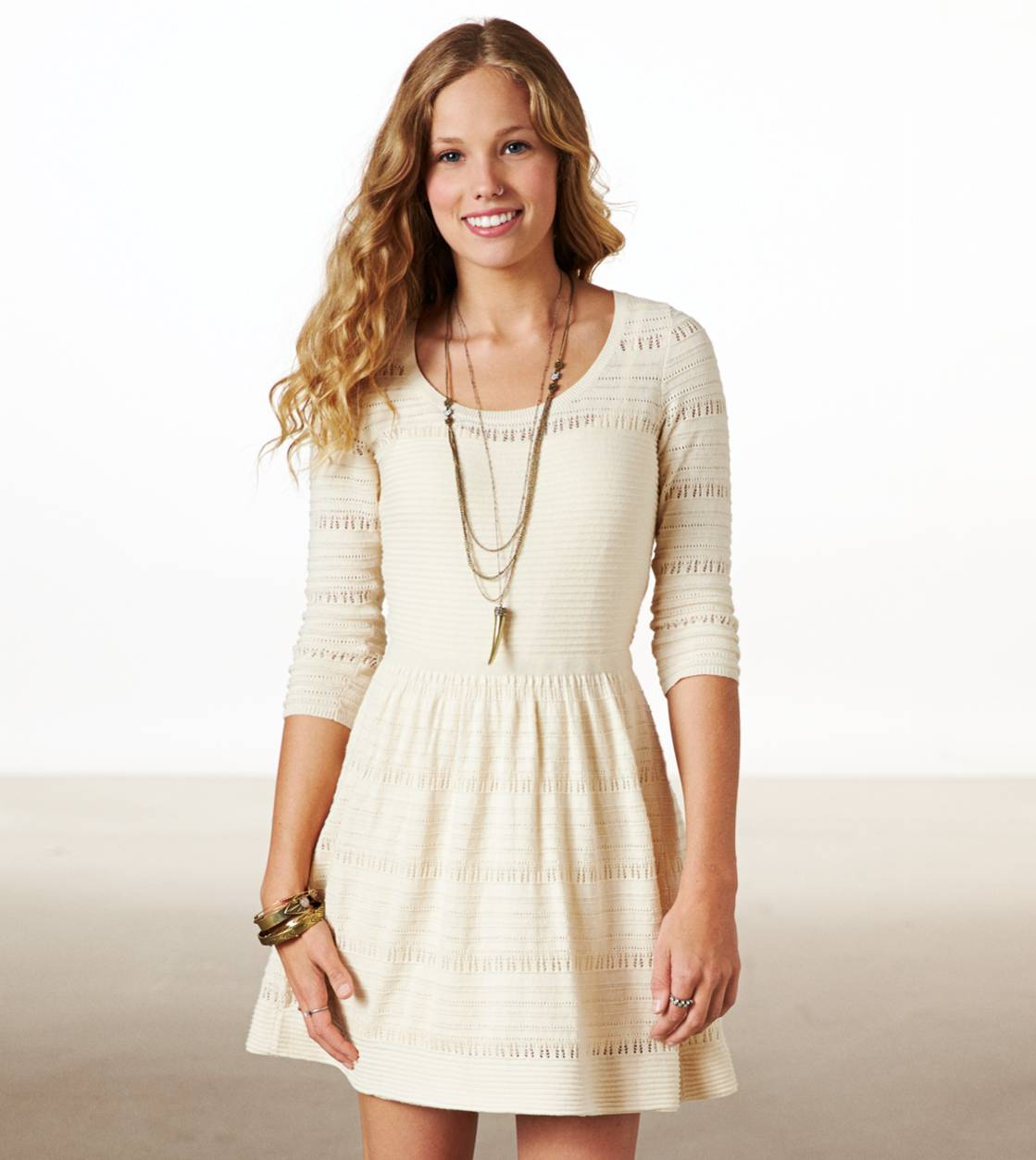 Cream AE Fit & Flare Sweater Dress