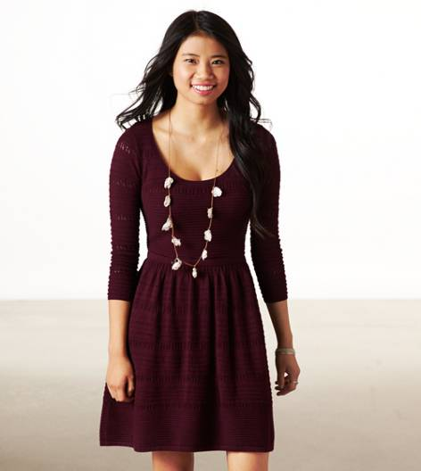 Heathered Rose AE Fit & Flare Sweater Dress