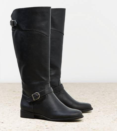 Black AEO Buckle Strap Riding Boot