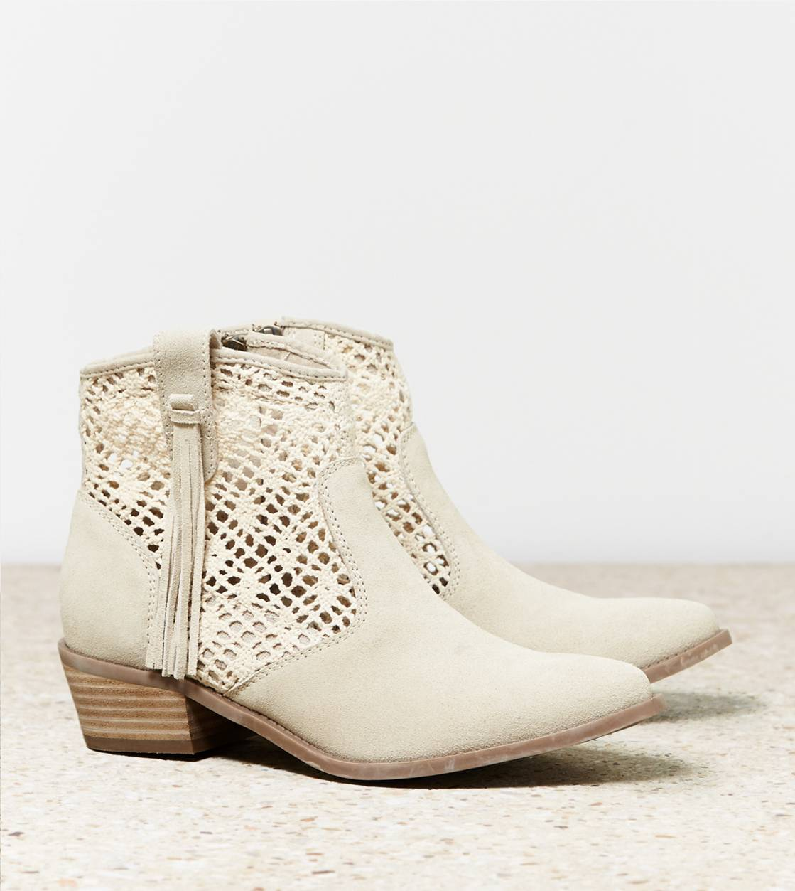 Natural AEO Crochet Bootie