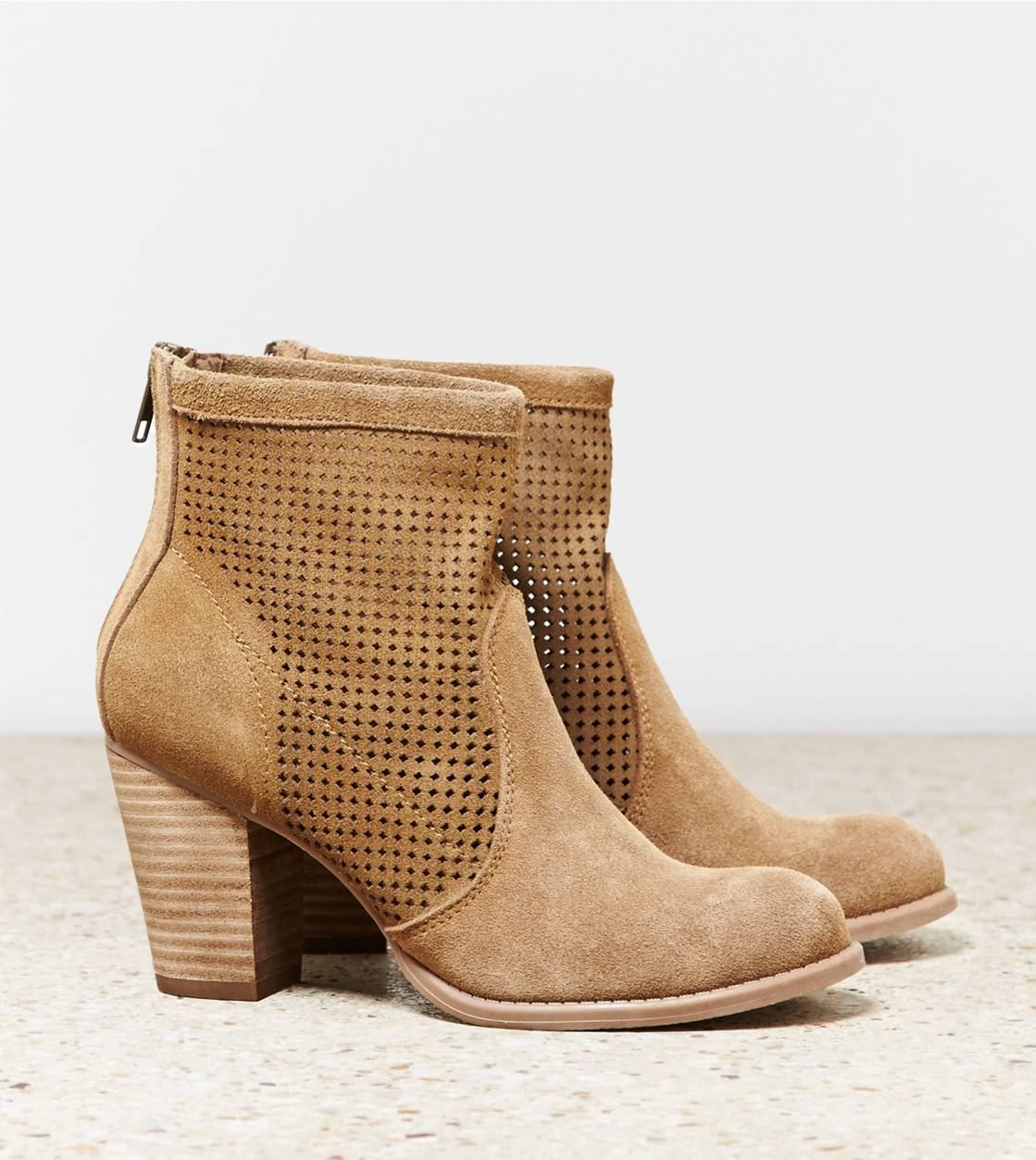 Tan AEO Perforated Bootie