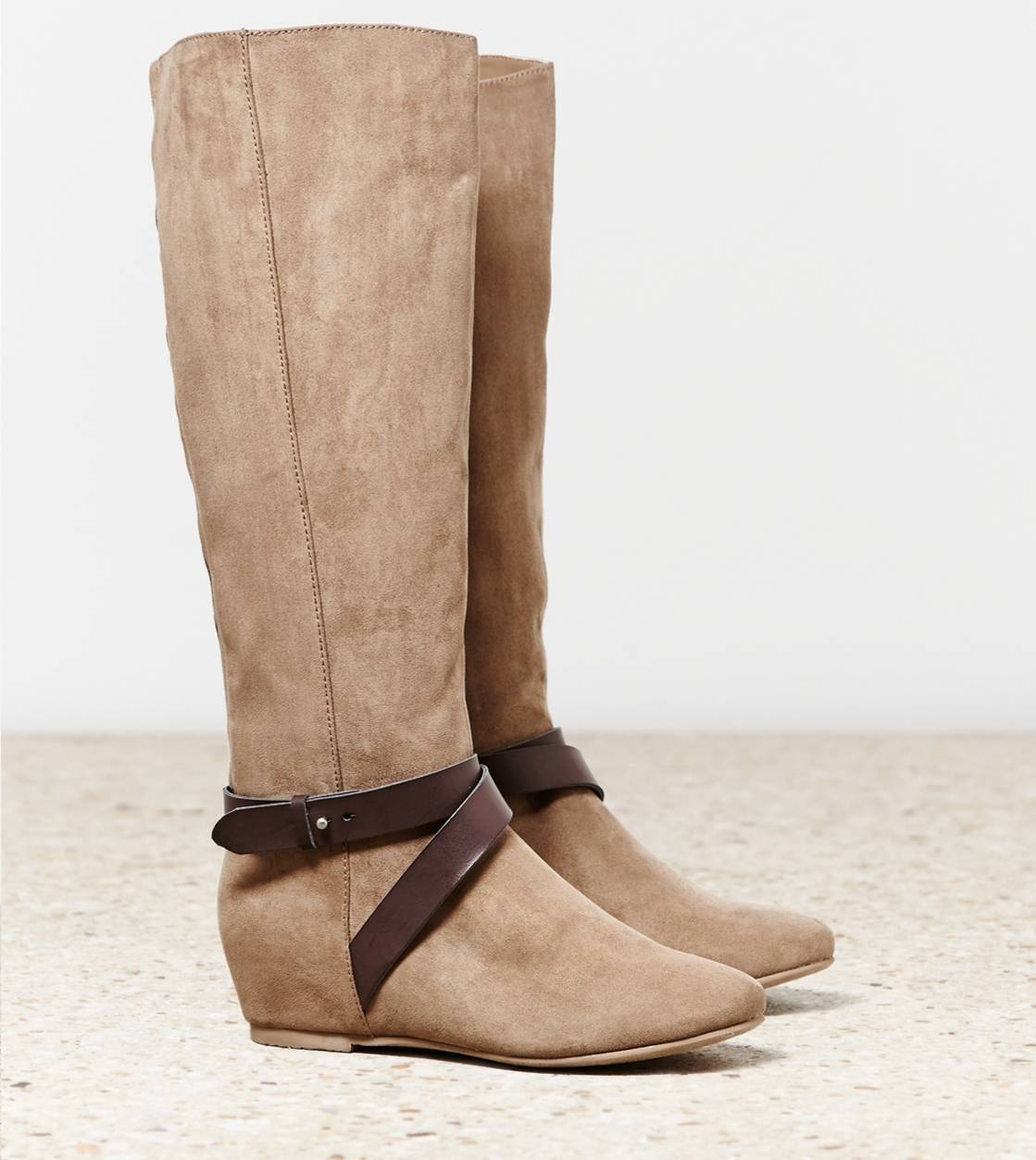 Taupe AEO Hidden Wedge Riding Boot