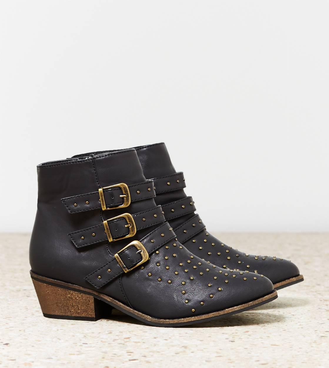Black AEO Studded Buckled Bootie