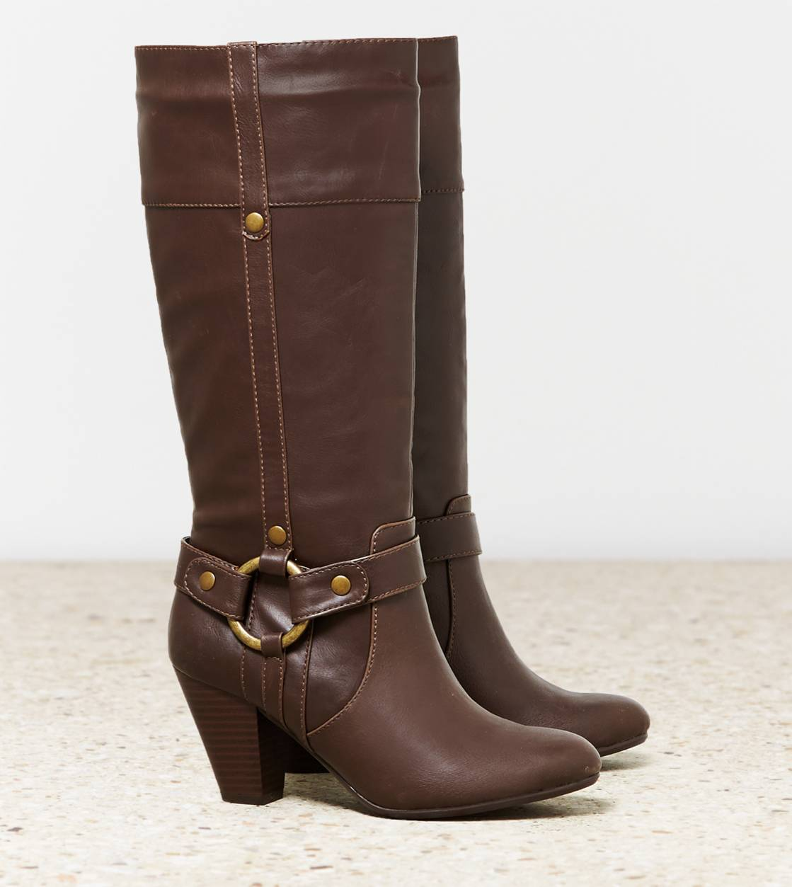 Dark Brown AEO Stacked Heel Buckle Boot