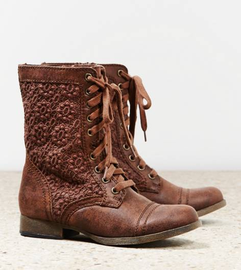 Brown AEO Crocheted Lace Front Boot