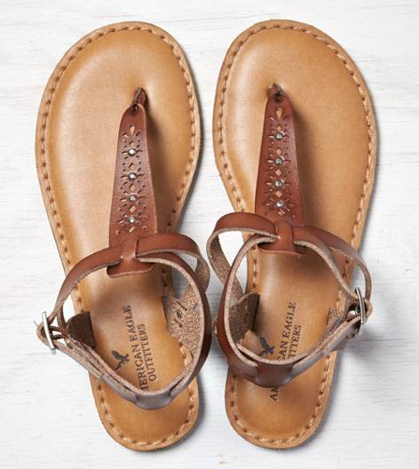 Brown AEO Studded T-Strap Sandal