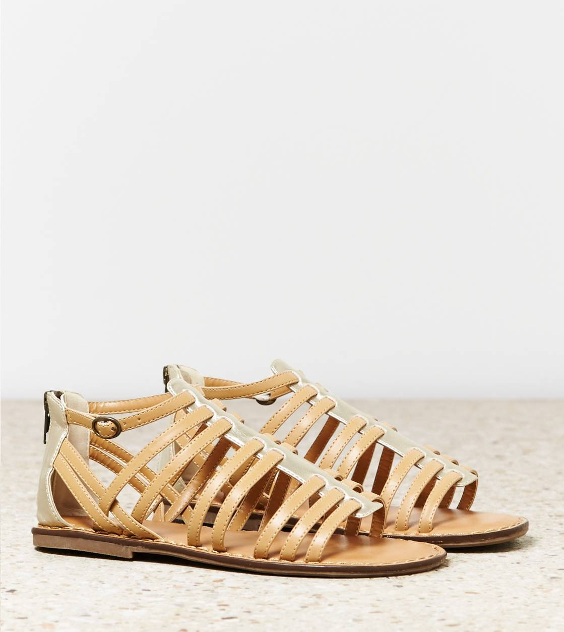 Natural AEO Zip Back Gladiator Sandal