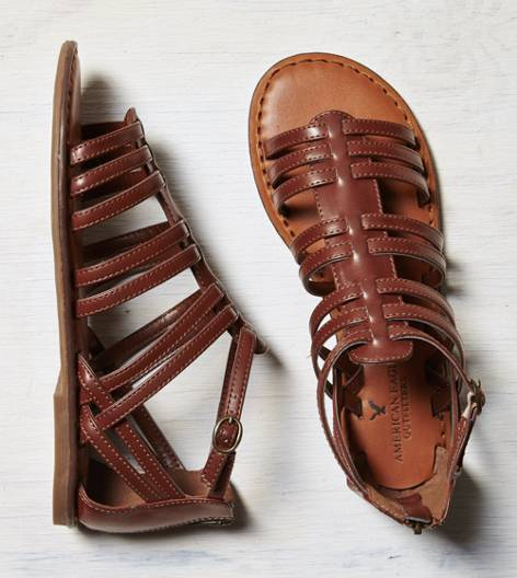 Dark Brown AEO Zip Back Gladiator Sandal