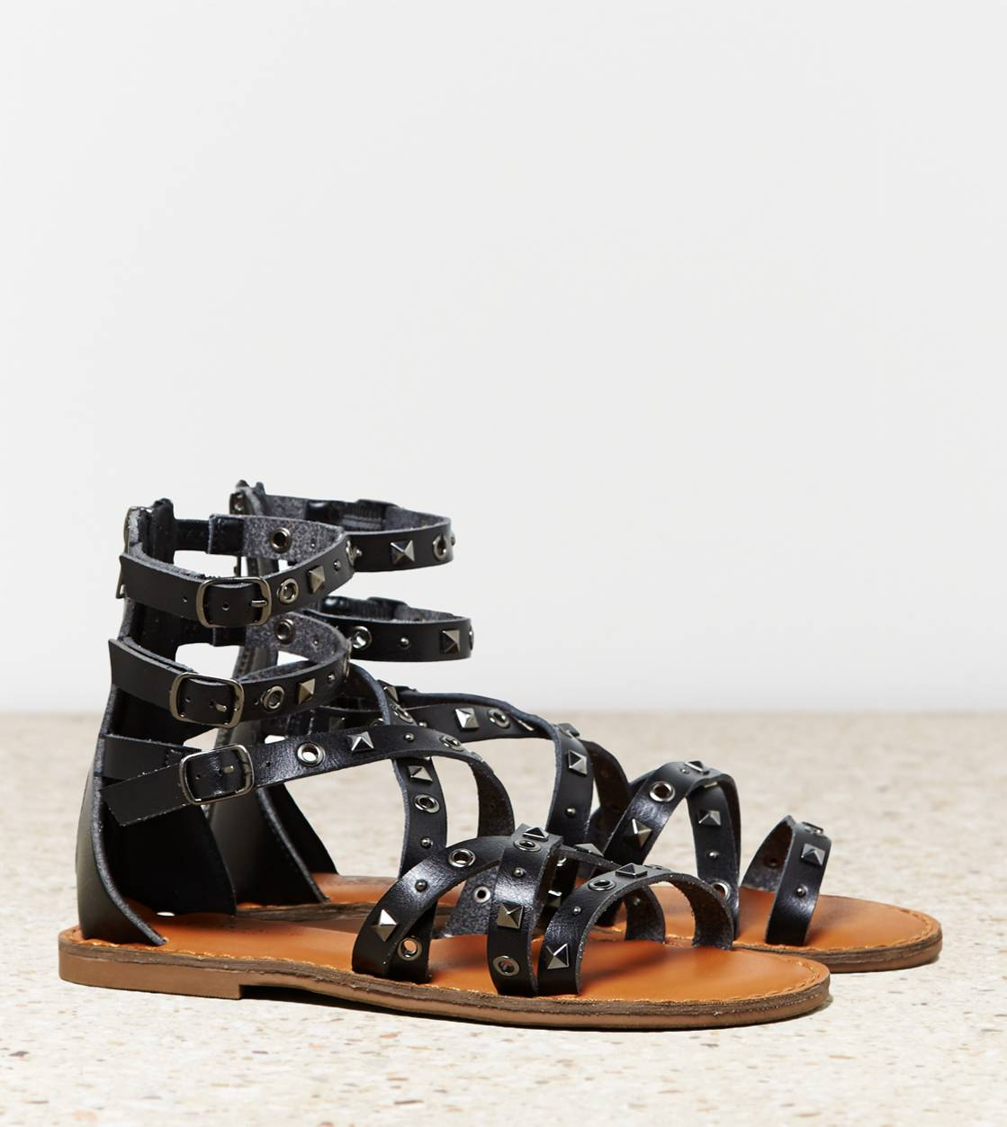 Black AEO Studded Gladiator Sandal