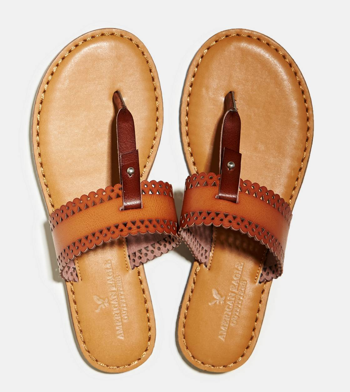 Brown AEO Wide Banded Thong Sandal