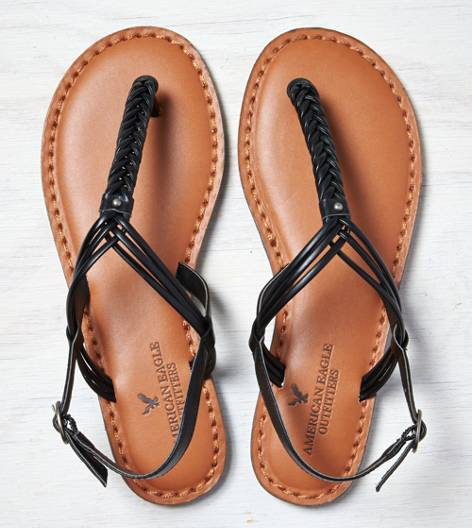 Black AEO Braided T-Strap Sandal