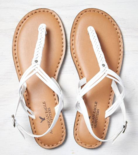 White  AEO Braided T-Strap Sandal