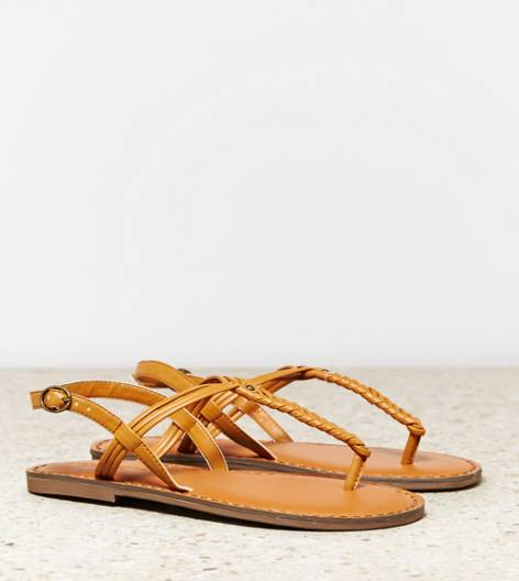 Tan AEO Braided T-Strap Sandal