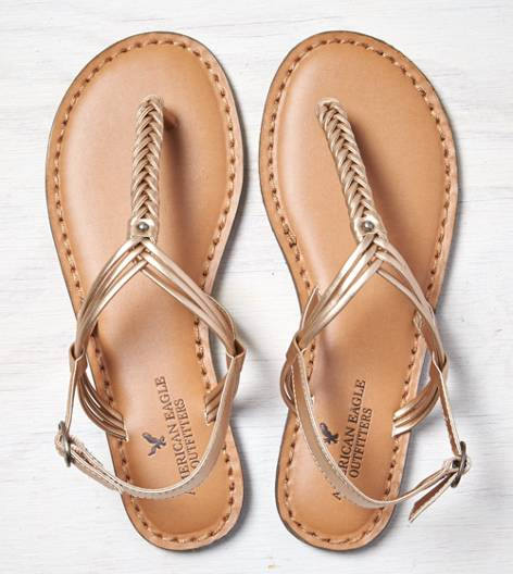 Rose Gold AEO Braided T-Strap Sandal